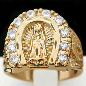 14k GOLD GL Virgin Mary | GUADALUPE LUCKY HORSESHOE Religious Ring + LIFE GUAR