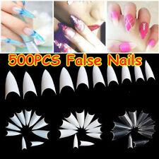 500Pcs Artificial Nails French False Half Nail Art Tips Acrylic UV Gel Tools NEW