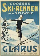 Vintage Ski Posters GLARUS SKI-RENNEN, SWITZERLAND, 1905, A3 250gsm Travel Print