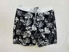 5c50369cc9a43 Hollister XS Mens Swim Trunks Board Shorts Black White Flower Pattern EUC