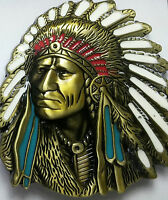 Belt Buckle Chief Head Native American Canadian Indian Feather Dream Catcher