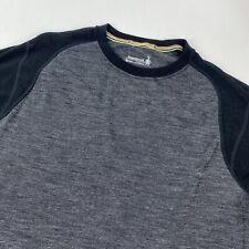 Smartwool Black/Gray Long Sleeve Pullover Shirt Size Large 100% Merino Wool