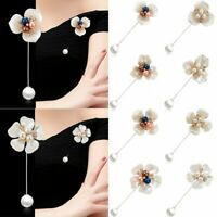 Women White Flower Camellia Shell Crystal Pearl Clothes Shawl Brooch Pin Gift