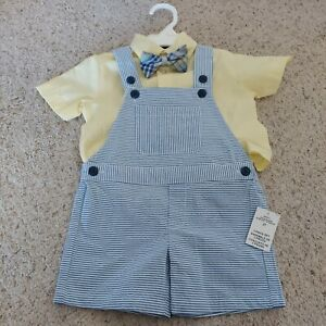 NWT boys 3-pc blue seersucker overalls outfit by Nautica  2T easter