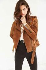 Urban Outfitters Brown Genuine Suede Spliced Western Biker Jacket  XS $269 CHIC