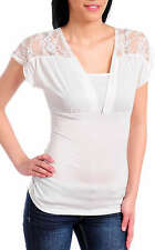 White Ivory Tshirt Top with Floral Lace Shoulders and Short Sleeves Size 8 BNWT