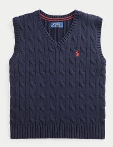 NEW POLO RALPH LAUREN Navy Blue Cable Knit V-neck Sweater Vest Boys Size 8