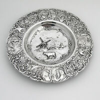 Ornate Happy Village People Serving Plate Dutch Second Standard Silver 1904
