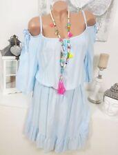 Robe tunique bleu coton pour femme