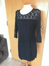 Ladies Dress Size 14 M&Co Black Stretch Tiered Party Evening Cruise Occasion