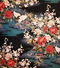 JAPANESE KONA BAY EMPEROR COLLECTION CRANES CHERRY BLOSSOM COTTON BLK PNL FABRIC