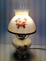 VTG Gone With The Wind Hurricane Milk Glass Table Lamp Floral Design