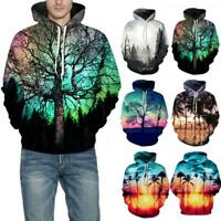 Women Men 3D Tree Graphic Print Hoodie Hooded Sweatshirt Tops Pullover Sweater