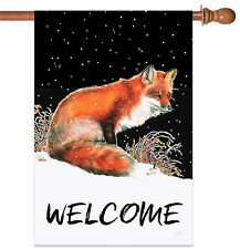 NEW Toland - Winter Welcome Fox - Wildlife Animal Snow House Flag