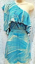 SPOTLIGHT by WAREHOUSE Grey & Turquoise Silk One Shoulder Party Dress Size 14
