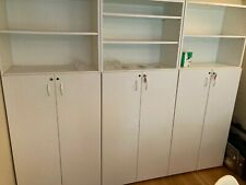 More details for home/office book shelves & filing cabinet x 3, white.  cabinet part is lockable