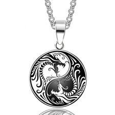 Yin Yang Dragon Stainless Steel Pendant Necklace Love Zen Balance Meditation