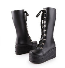 Womens Knee High Boots Wedge Heels Platform Gothic Punk Rock Lace Up Motorcycle