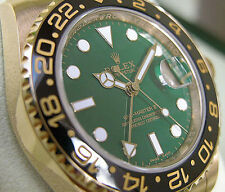 Rolex GMT-MASTER II 116718 Mens Yellow Gold Oyster Ceramic Bezel Green Dial 40MM