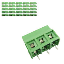 50 pcs 9.5mm Pitch 300V 30A 3P Poles PCB Screw Terminal Block Connector Green