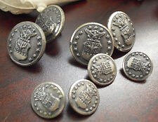 Lot of 8 Antique Metal Watebury Button Co Clothes Buttons - American Eagle