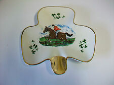 Vintage Carrigaline Pottery Cork Ireland Shamrock Shaped Ashtry Steeplechase