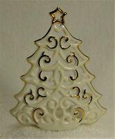LENOX BRIGHT CHRISTMAS TREE Votive Pierced Tree with Gold Trim #760569 NM