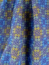 Vintage 100 % wool fabric Welsh tapestry blue green 140 x 73 cm