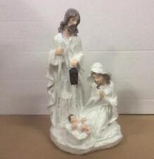 New White/Cream Resin China Nativity Set LED Lit Christmas Decoration 30cm