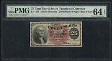 Fr1301 25¢ 4Th Issue Fractional Currency Pink Fibers Pmg 64 Choice Unc Hw3328