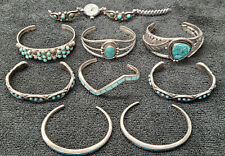 Vintage Native American Jewelry Zuni Inlay Silver Turquoise Bracelets Watch Lot