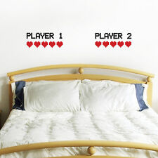 Retro Gamer Wall Sticker Pack - Player 1 Player 2 and 10 Pixel Lives / Hearts