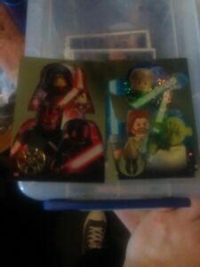 Star Wars Lego Series1 Gold Jedi And Dark Side Cards