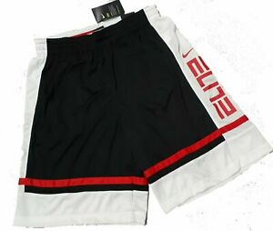 Nike Elite Basketball Shorts Men's NWT #CV4888 010 Black/White/Red (SZ M)
