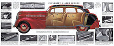 1938 Chevrolet Master Deluxe Showroom Wall Illustration 7 x 19  Giclee print