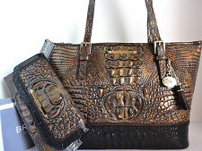 Brahmin Asher Fall Tortoise Tri-Texture Leather Tote Bag + Checkbook Wallet NWT