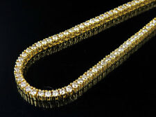 """Men's 10K Yellow Gold Prong 1 Row Real Diamond Tennis Chain Necklace 14.75Ct 26"""""""