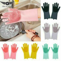 1 Pair UK Magic Silicone Rubber Dish Washing Gloves 2 in 1 Cleaning Scrubbing UK
