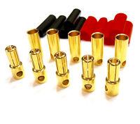 5 Paar 5,5mm 5.5mm Goldstecker Buchse + Schrumpfschlauch Lipo Akku Motor ESC RC
