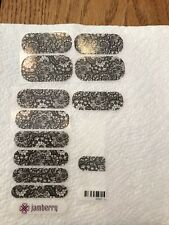 JAMBERRY Nail Wraps Black Lace On Clear Manicure