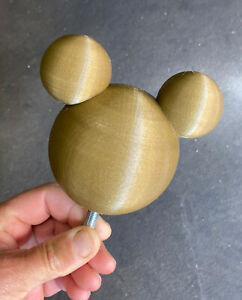 Mickey Stair Banister Head 3D Printed (In Gold Colour) 50th USA ParkAnniversary