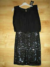 "NEW + TAGS (RRP £49.99) ""QUIZ"" AT DEBENHAMS SPARKLY SEQUINED DRESS SIZE 8 BLACK"