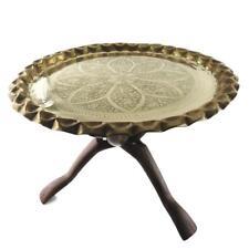 "Vintage Mid Century 20"" Moroccan Brass Pie Crust Tray Table Teak Tri-Pod Legs"