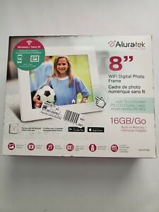 Aluratek 8 Inch WiFi Digital Photo Frame with Touchscreen IPS LCD Display and 8G