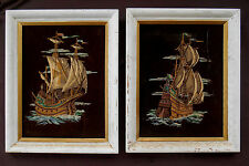 "PAINT BY NUMBERS Brown Velvet TALL SHIPS Framed White Wood 15¼ x 19"" FREE SHIP"