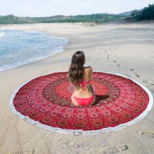 Red Peacock Roundie Yoga Mat Round Beach Picnic Rug Round Towel Tapestry Mandala