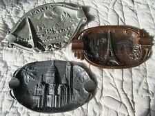 LOT OF 3 ART DECO ASHTRAYS TRAVEL SOUVENIR PARIS EIFFEL TOWER