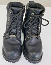 Harley Davidson Riding Boots Lace Up - Zipper - Black Leather - Women Size 6