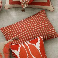 Williams Sonoma Colonial Greek Key Lumbar Pillow Cover, Coral