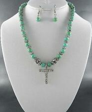 Turquoise Lucite Bead Silver Tone Cross Pendant Necklace Earring Set